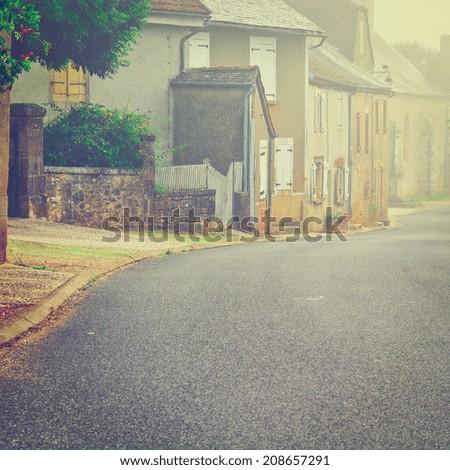 French Village Street in the Morning Mist, Instagram Effect