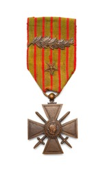 French World War One Medal Cross of Guerre Isolated on White.