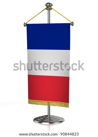 Frenche table flag isolated on white