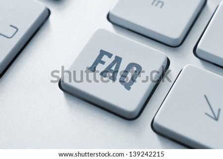 Frequently asked question button on a modern computer keyboard