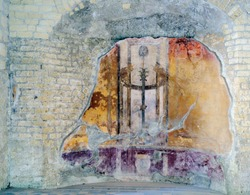 Fresco at the Archeological site in the houses that were found after volcanic flow in 79AD Herculaneum Ercolana Campania Italy.