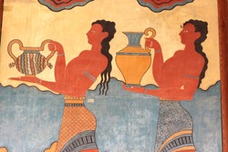 Fresco at the south entrance of the Palace of Knossos. It is the largest Bronze Age archaeological site on Crete.
