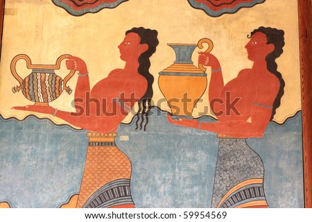 Fresco at the south entrance of the Palace of Knossos. It is the largest Bronze Age archaeological site on Crete. - stock photo