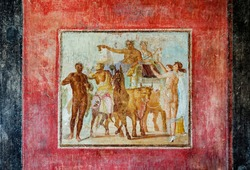 fresco in Marco Lucrezio Frontone Tablinum a house of ancient Pompeii buried by the volcanic eruption of Vesuvius in 79 AD
