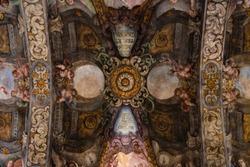 Fresco mural paintings of the church of San Nicolás in Valencia, Spain