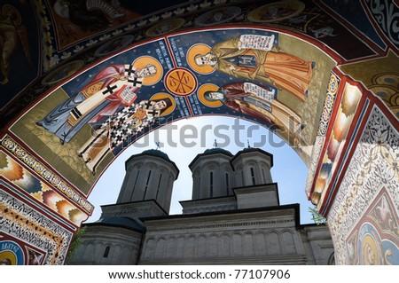 fresco of belfry tower and Radu Voda Monastery, a romanian orthodox church in Bucharest, Romania Foto stock ©