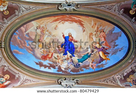 Fresco of Bible scene on rooftop of a church