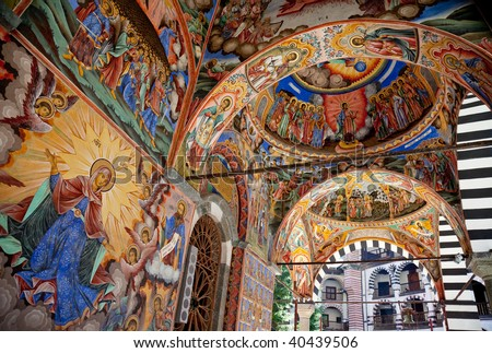 Fresco on the facade of The church of the Nativity of the Virgin, the main church in Rila monastery, painted 1840-1847