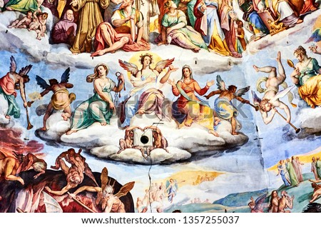 Photo of  fresco painted by Giorgio Vasari in the dome of the cathedral of Florence, Italy