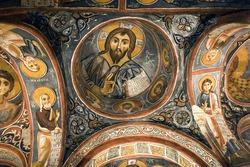 Frescoes on a wall of cave church , Goreme - Karanlik Kilise,Cappadocia Turkey