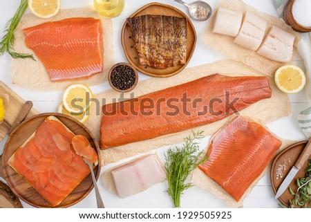 Fresh alaskan seafood fish. Salmon, halibut, and cod. Smoked salmon, sockeye salmon and coho salmon.