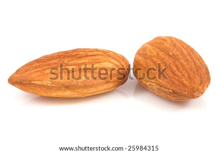 Fresh almond isolated on a white