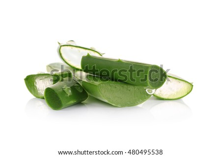 Fresh aloe vera leaves with water drops on white #480495538