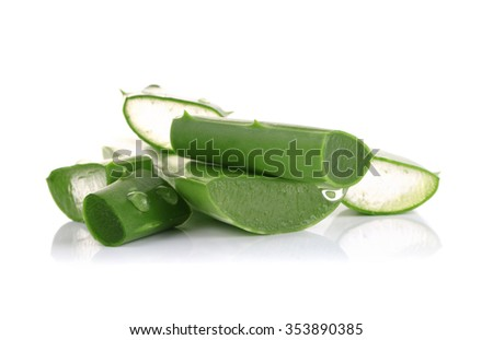 Fresh aloe vera leaves with water drops on white background #353890385