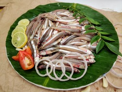 Fresh Anchovy Fish Decorated with Tomatoes Slice, Lemon Slice, Red chili and curry Leaves on a Banana leaf.