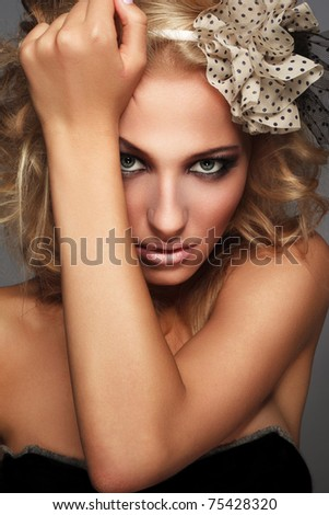 Fresh and Beautiful. Portrait of blonde with  makeup.