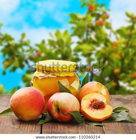 fresh and canned peaches on garden background