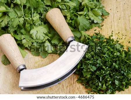 fresh and chopped herbs on cutting board with a mezzaluna - stock photo
