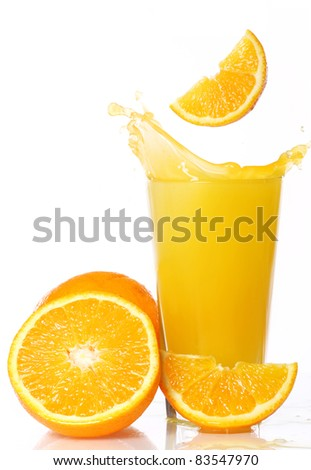 Fresh and cold orange juice against white background