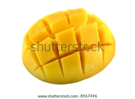 Fresh and colorful mango cut and cubed in its skin. - stock photo