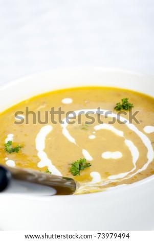 Fresh and creamy pumpkin soup.