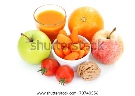 fresh and delicious fruits and vegetable as a snack - diet and breakfast