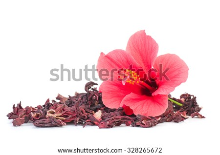 Shutterstock Fresh and dried hibiscus flowers isolated on white background