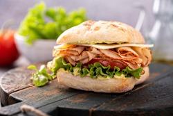 Fresh and healthy pesto turkey sandwich with white cheddar cheese