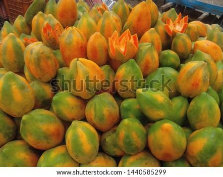 fresh and healthy ripe papaya ripe  #1440585299