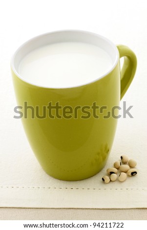 fresh and healthy soy milk cup made with organic soybeans