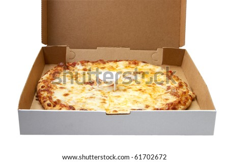 Fresh and hot Cheese Pizza in the delivery box on white background
