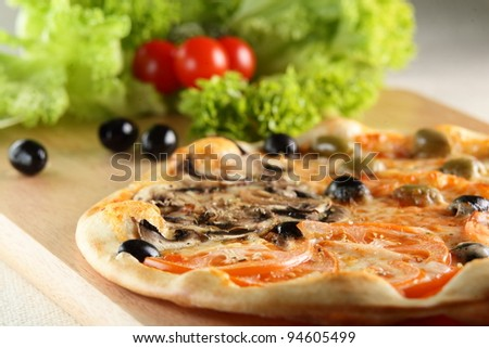 Fresh and hot pizza on the table