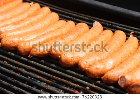 Fresh and juicy hotdogs on open grill