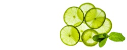 fresh and juicy sliced green lime slices on a white luminous background, citrus background.beauty and health concept.