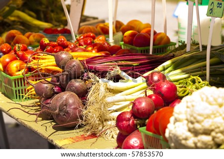 Fresh and local grown vegetables at a market