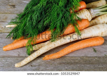 Fresh and organic vegetables at farmers market: Fresh Parsley Carrot Dill