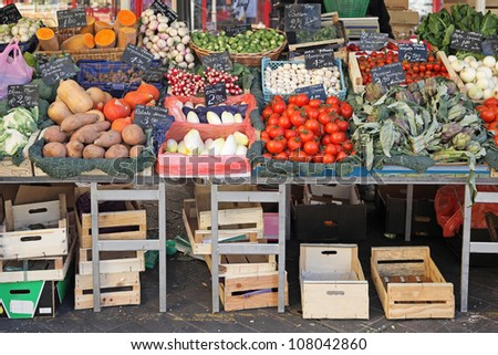 Fresh and organic vegetables at farmers market stall