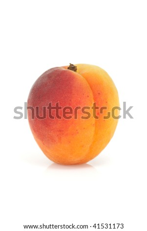 Fresh and ripe apricot isolated on a white background
