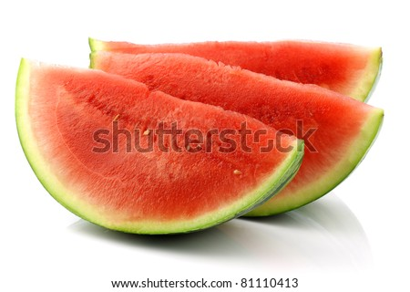 fresh and ripe watermelon pieces on a white background