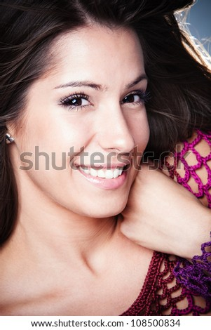 fresh and smiling young woman portrait studio shot - stock photo