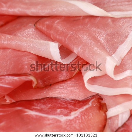 Fresh and smoked ham slices as a closeup