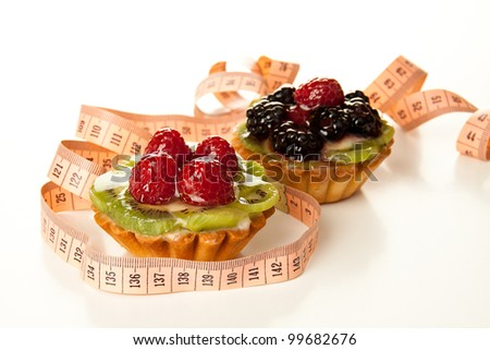 Fresh and sweet dessert cakes with measuring tape isolated on white