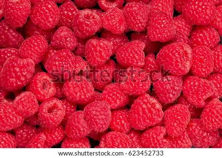 Fresh and sweet raspberries background Stock photo ©