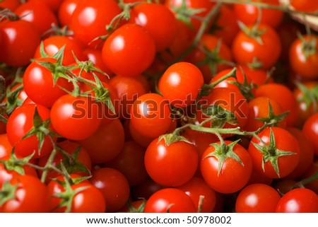 Fresh and tasty cherry tomato in grocery store.