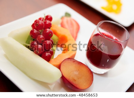 Fresh and tasty fruits or banquet table, selective focus - stock photo