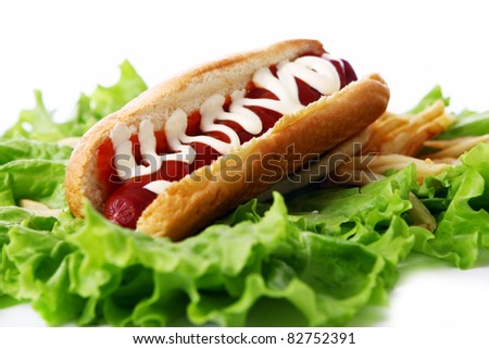 Fresh and tasty hot dog with fried potatoes on the salad leaves