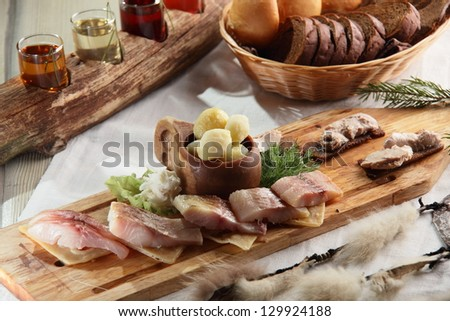 fresh and tasty peaces of meat with garnish