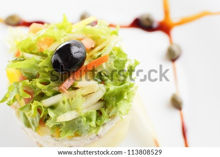 fresh and tasty salad on white background