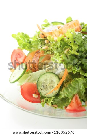 fresh and tasty salad with tomato and cucumber