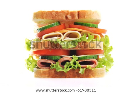 Fresh and tasty sandwich close up